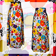 Vintage 60s Long Skirt Colorful Floral Printed Cotton Size M