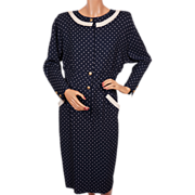 1980s Valentino Dress Blue Polka Dots - S - M
