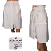 Vintage 70s Courreges White Linen Skirt with Hyperbole Label Size S