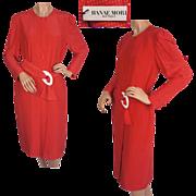 Vintage 80s Hanae Mori Red Silk Dress w White Stars Size 6 Small NWT