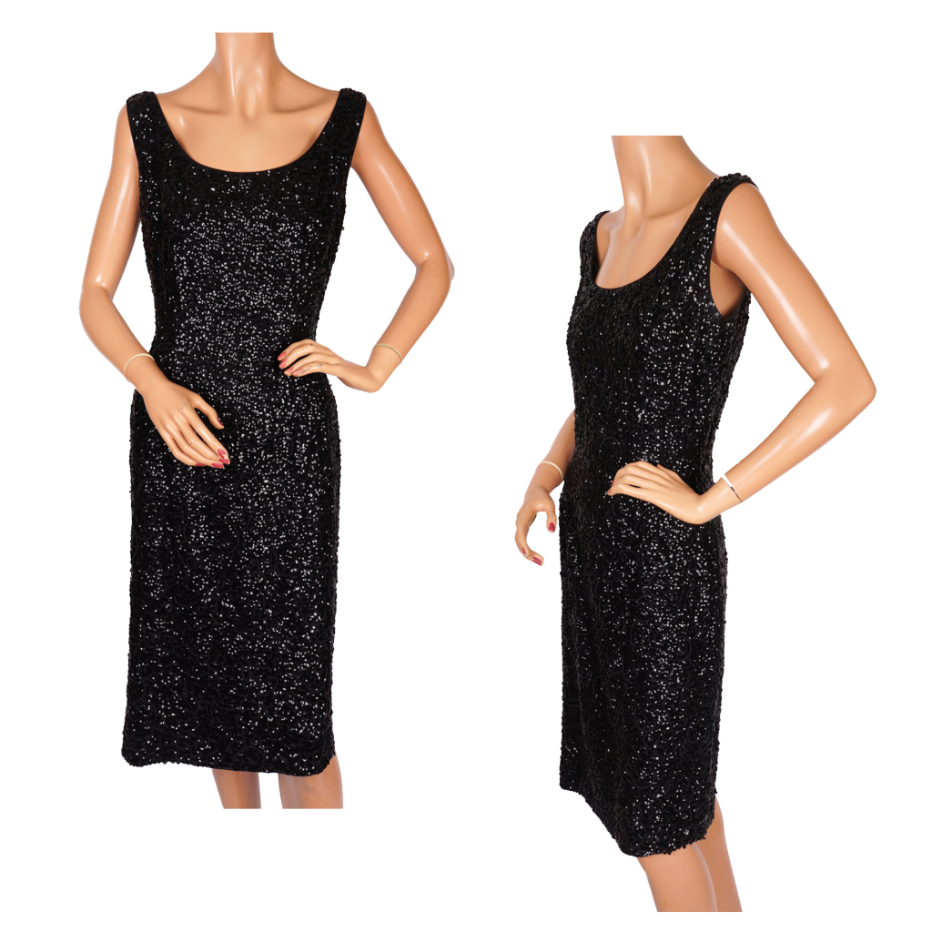Vintage 60s Black Sequin Beaded Cocktail Dress Custom Tailored in Hong Kong Ladies Size M