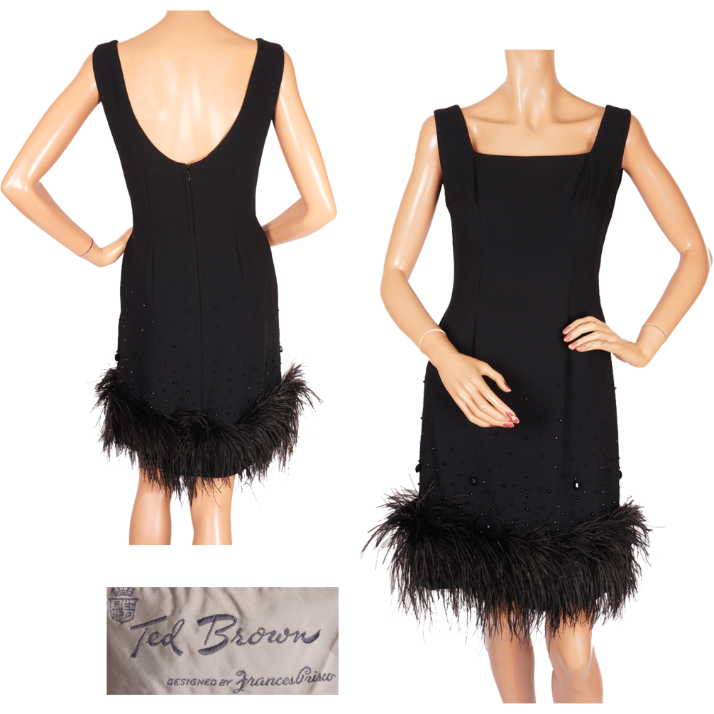 Vintage 60s Black Wiggle Dress with Marabou Trim by Frances Prisco Ladies Size S