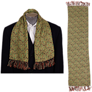 Vintage 1940s Mens Fringed Scarf with Abstract Paisley Pattern