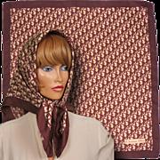 "Vintage 1970s Christian Dior Logo Silk Twill Signature Scarf 30"" Square"