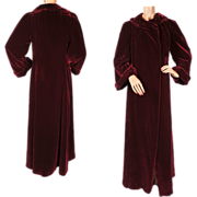 Vintage 1930s Maroon Velvet Opera Evening Coat Fashion Originators Guild Size Small