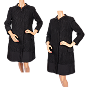 Vintage Italian Couture Coat Black Wool & Faille 1960s Via Veneto Roma Size M 10