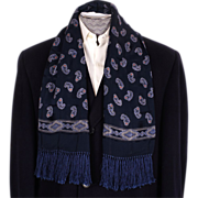 Vintage Mens Fringed Scarf Paisley Pattern on Navy Blue Rayon 1950s