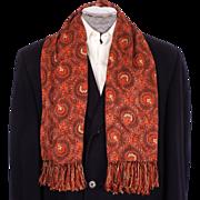 Vintage Crepe Fabric Fringed Scarf 1930s Mens Fashion by Forsyth Opera Foulard