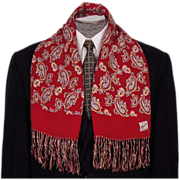 Vintage Mens Fringed Scarf 1950s Paisley Pattern on Red by Majestic