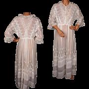 Antique Edwardian White Cotton Tea Dress Wedding Gown 1910 Size M