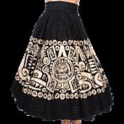 Vintage Mexican Black Sequin Circle Skirt 1950s Aztec Design Size S / M