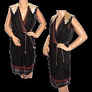 Vintage Grecian Goddess Dress 1970s French Sample Size M