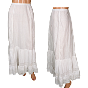 Antique Victorian Lace Flounce Petticoat White Cotton Slip Skirt One Size