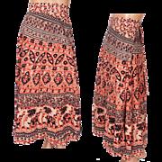 Vintage 70s Indian Cotton Hippie Wraparound Skirt Block Printed with Elephants Size M
