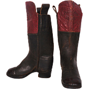 Antique Salesman Sample Leather Boots Our Own Make c 1880s