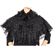 Antique Victorian Mourning Shawl Jet Beaded Black Silk Voile Mantelet or Capelet