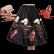 Vintage 1950s Novelty Print Circle Skirt with Bull & Matador Size M