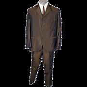 Vintage 60s Sharkskin Mens Suit British Invasion Era Green w Blue Pinstripe Size L