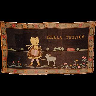Vintage 1920s Needlepoint Tapestry Wall Hanging Hooked Rug Quebec Folk Art