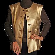 Vintage Yves Saint Laurent Gold Leather Vest 1980s Size 42