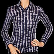 Vintage 1970s Celine Paris Cotton Shirt Blouse Horsebit Chain Pattern Ladies Size S