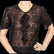 Vintage 1930s Black Lace Blouse w Jabot Size S / M