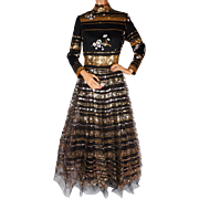 Vintage 60s Sequin Dress Ball Gown Size M Made in Hong Kong