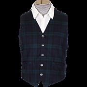 Vintage Viyella Vest by Jantzen Black Watch Scottish Tartan Mens Waistcoat Size Medium