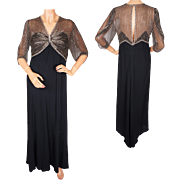 Vintage 1930s Beaded Bodice Black Silk Crepe Long Evening Dress Size M / L