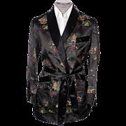 Vintage Unused Smoking Jacket by Caulfeild Black Oriental Pattern Mens Size M