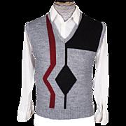 Vintage 70s Mens Knit Sweater Vest Geometric Pattern Prince Bellini by Caramy Size M