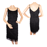 Vintage 50s Bombshell Dress Cha Cha Mambo Dance Fashion w Layered Fringe Size M L