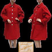 Vintage Saks Fifth Avenue Red Wool Coat 1950s Debutante Shop Ladies Size M / L