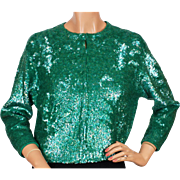 Vintage Green Sequin Sweater by Gene Shelly St Patricks Day Ladies Size M