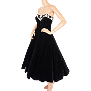 Vintage 50s Strapless Evening Gown 1950s Black Velvet Party Dress Size M