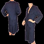Vintage Henri Bendel Silk Knit Ribbon Suit 1930s 40s Ladies Size Large