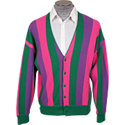 Vintage Mens Cardigan Sweater Made in Italy 1960s Bright Stripes Size XL
