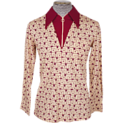 Vintage Mens Mod Zip Front Shirt 1960s Lancer Californian Size M