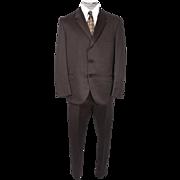 "Vintage Mens Suit 1960s British Invasion Mad Men Era Brown Venetian Cloth Size L w 35"" Wa"