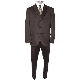 "Vintage Mens Suit 1960s British Invasion Mad Men Era Brown Venetian Cloth Size L w 35"" Waist"