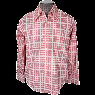 Vintage Mens Shirt 1970s Pink Square Geometric Long Sleeve Unused Size L 16