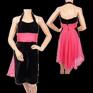 Vintage 50s Black Velvet Halter Dress w Pink Organza - S