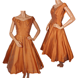 Vintage Ceil Chapman Orange Silk Taffeta Party Dress 1950s Size S M