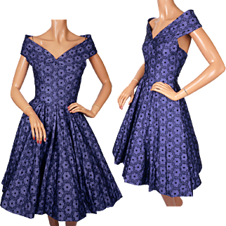 Vintage 50s Party Dress with Shoulder Wrap Halter 1950s Size S