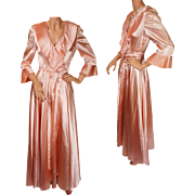 Vintage Peignoir 1940s Pink Satin Dressing Gown Ladies Size S M