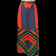 Vintage Geometric Color Block Long Skirt 1960s Pant Man Size M