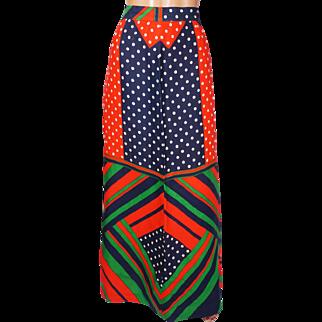 Vintage 1960s Geometric Color Block Maxi Skirt - Polka Dot - M