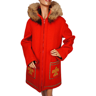 Vintage Inuit Blanket Wool Winter Coat James Bay Eskimo Style 1970s Unisex Size L