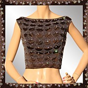 Vintage 1960s Crystal Beaded Bodice Shell Top Ladies Size Medium