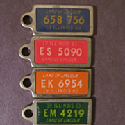 1960-64 Illinois Key Chain Car License Plate Tags